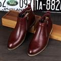 Venta caliente Joven Moda Hombre Zapatos de Cuero Con Cremallera Punta Redonda botas Británico Martin Boot Diseñador Botines Negro 38-43