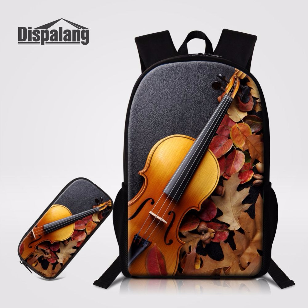 Luggage & Bags Men's Bags 2019 Latest Design Dispalang School Backpack With Pencil Case 2 Pcs/set Violin Pattern Backpacks For Primary Student Children Book Bag Knapsack