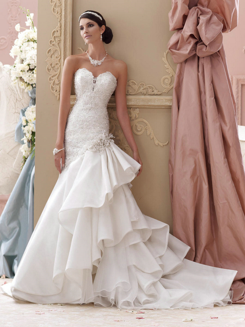Mejor vestido de la novia 2014 MGW15.7 encaje sirena del amor de la ...