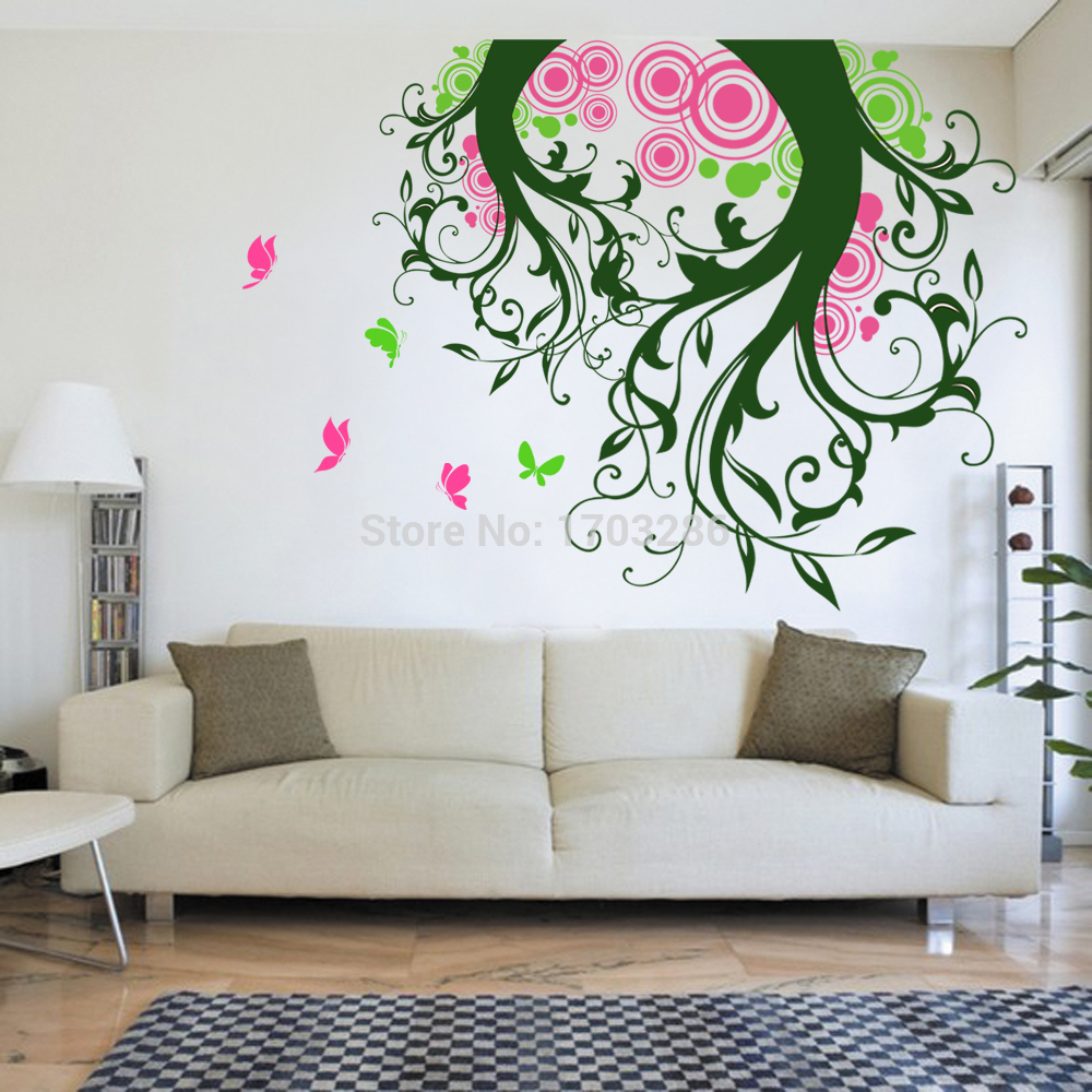 Bedroom wall art trees - Magic Tree Wall Decal With Butterflies Tree Living Room Tree Vinyl Wall Art Sticker Removable 152cm