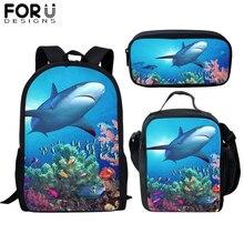цена FORUDESIGNS Great White Shark School Bags Student Boys 3pcs Print Orthopedic Satchel Backpack Book Bag Teenagers Girls Rucksack