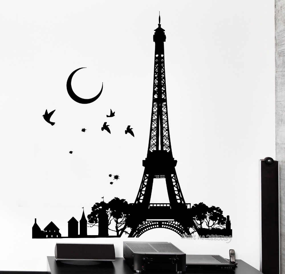 Wall Decal Romantic Paris France Eiffel Tower Night Moon Birds Vinyl Wall Stickers Wallpaper Art Decor Mural Room Decals La547 Wall Decals Sticker Wallpaperdecoration Murale Aliexpress