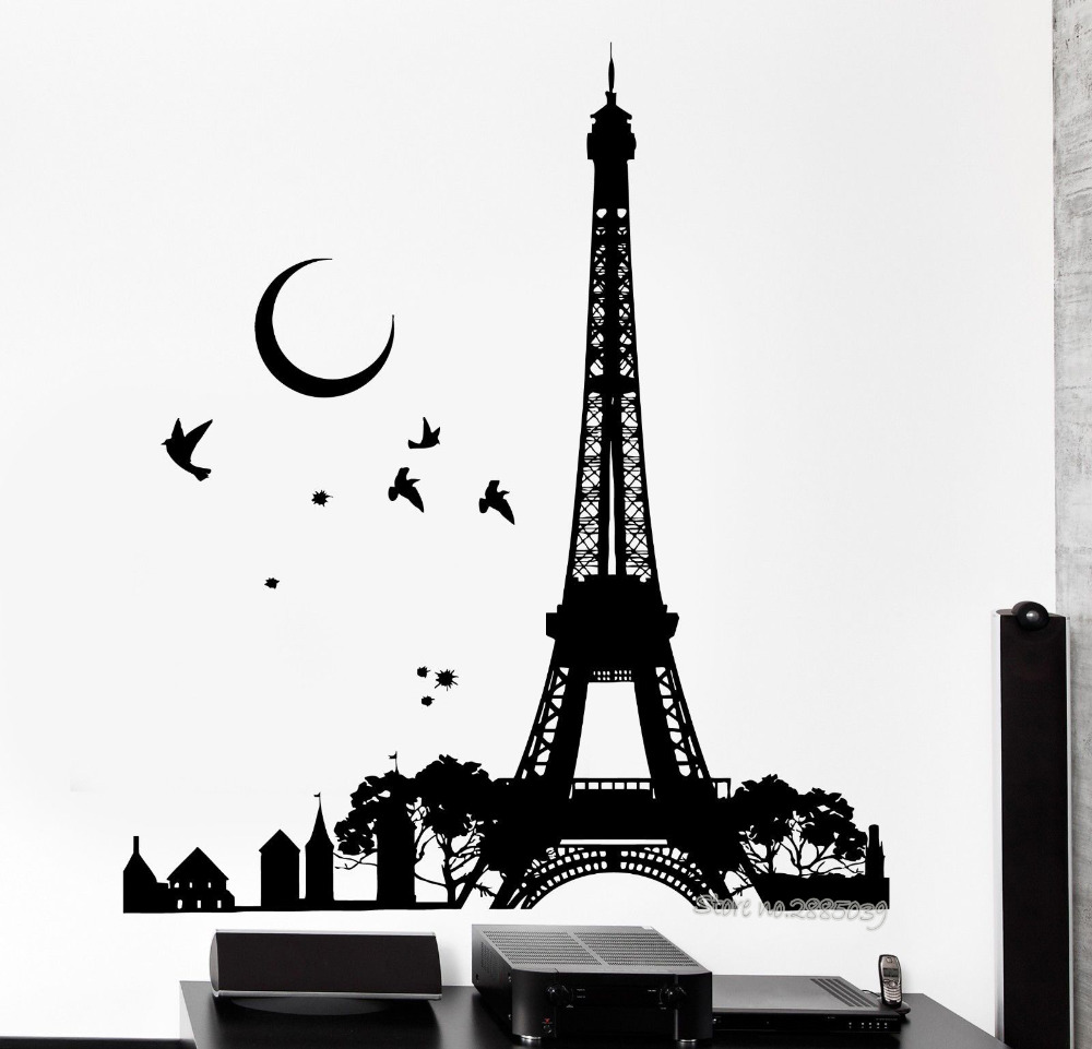 Wall decal romantic paris france eiffel tower night moon for Eiffel tower wall mural black and white