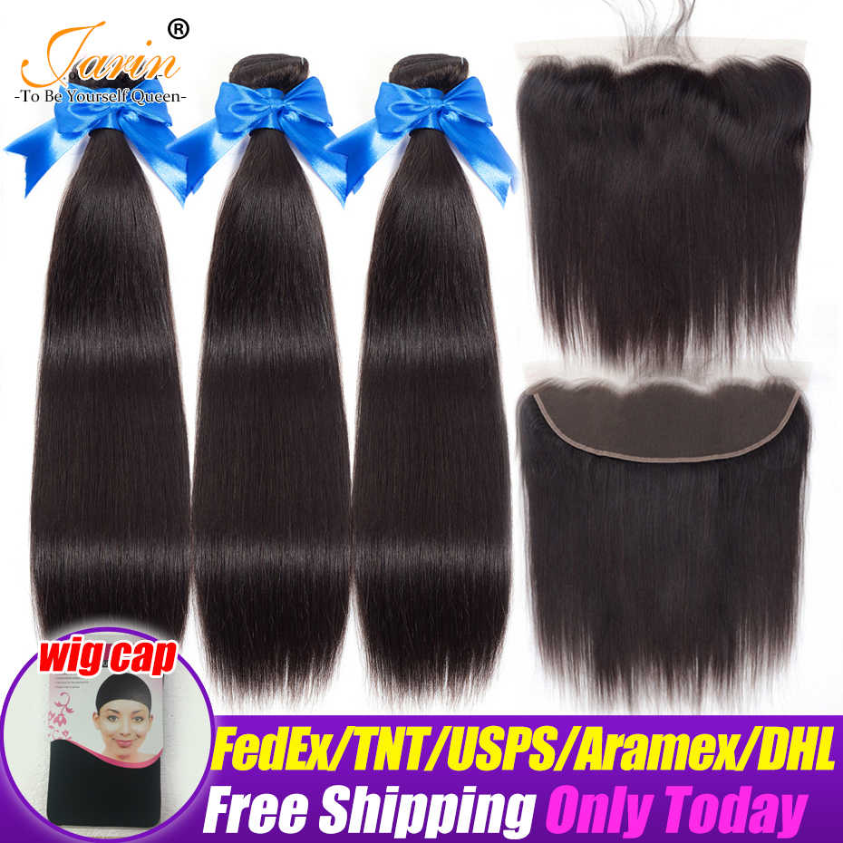 Jarin Hair Ear To Ear Lace Frontal Closure With 3 Bundles Brazilian Straight Human hair Weaves With Lace Closures Remy 4 Pcs/lot