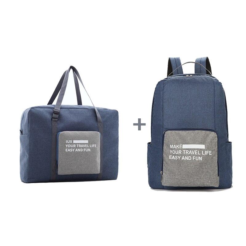 Мужские дорожные сумки, водонепроницаемая нейлоновая складная сумка для ноутбука, вместительная сумка для багажа, дорожные сумки, портативные женские сумки - Цвет: blue