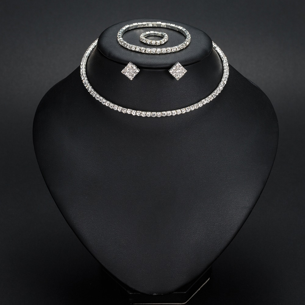 Silver Color Circle Crystal Bridal Jewelry Set 10