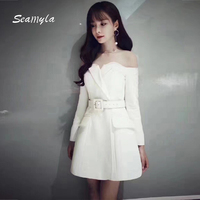 Seamyla 2017 New Winter Dress Women Elegant White Black Sashes Celebrity Party Dresses Sexy Off The