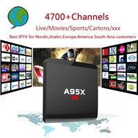 PRO Nordic A95X-R1 IPTV Androide Cuadro 6.0 TV con 4700 Canales, Árabe, Europa, América Del Sur Asia IPTV y Regalos para Adultos Set Top box