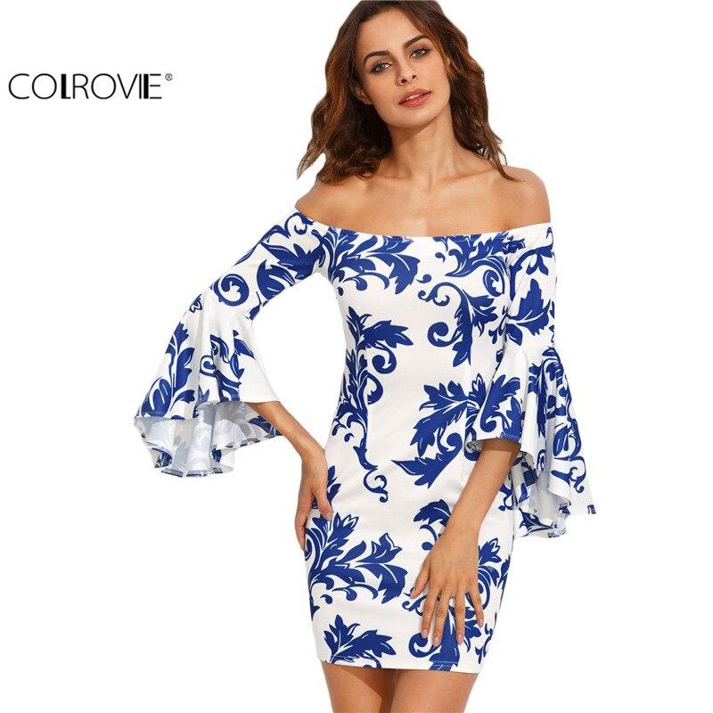 Colrovie impresión en blanco fuera del hombro bodycon manga flare dress mujeres