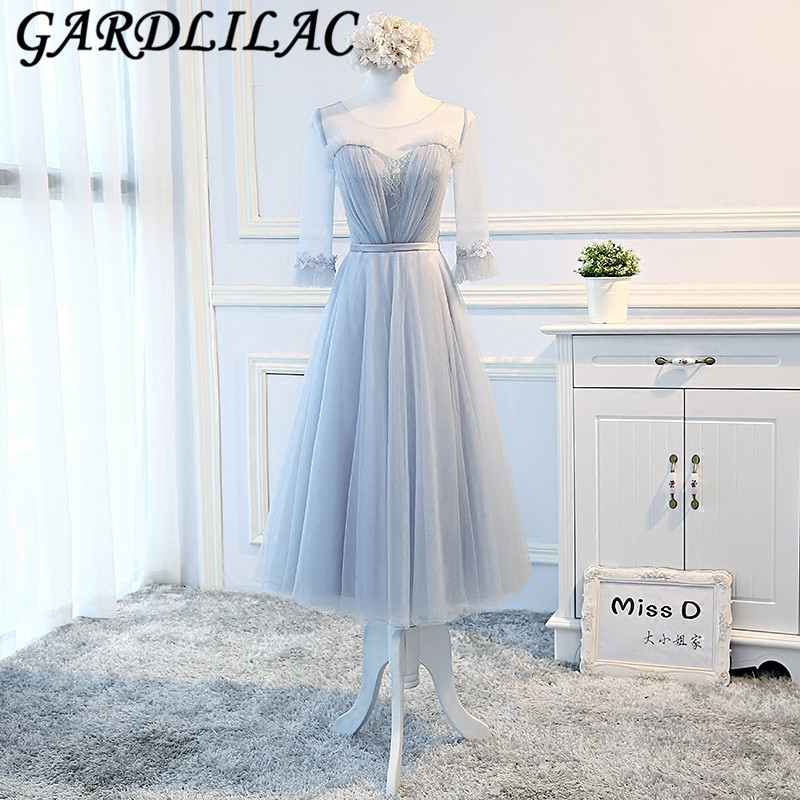 Gardlilac Blue Grey Long Sleeve   Bridesmaid     Dress   with Applique Tulle Lace up Long Wedding Party   Dress