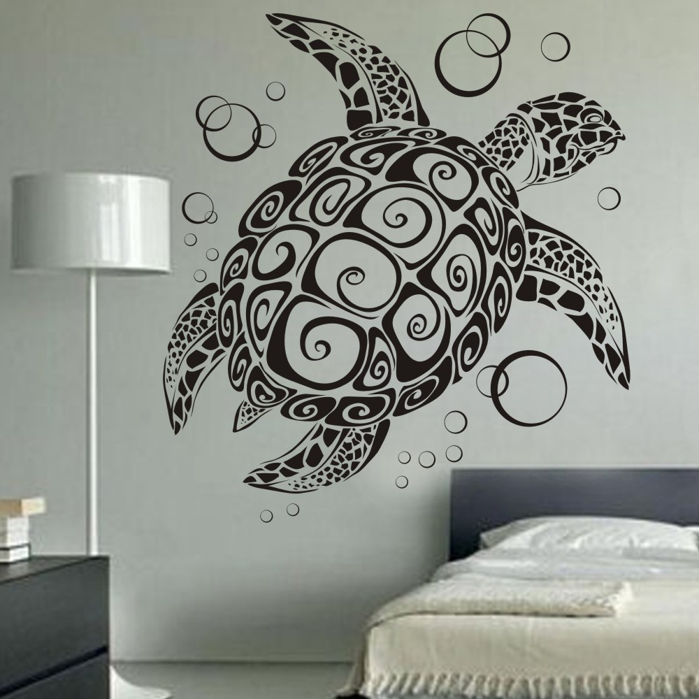 3d Wall Decor Us 42 54 Sea Turtle With Bubbles Uber Decals Home Decoration Tortoise Wall Decor 3d Wall Decal Art Stickers Removable Mural 60