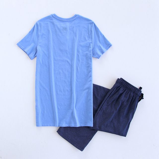 Summer short sleeve pajama men set casual trousers pyjamas men pijamas masculino night wear sexy sleepwear pijamas hombres