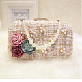 Fashion Pearl Diamond Wedding Ladies Day Clutches Banquet Party Hand Bag Handmade Beaded Flower Wedding Women Clutch Purse ZZ503