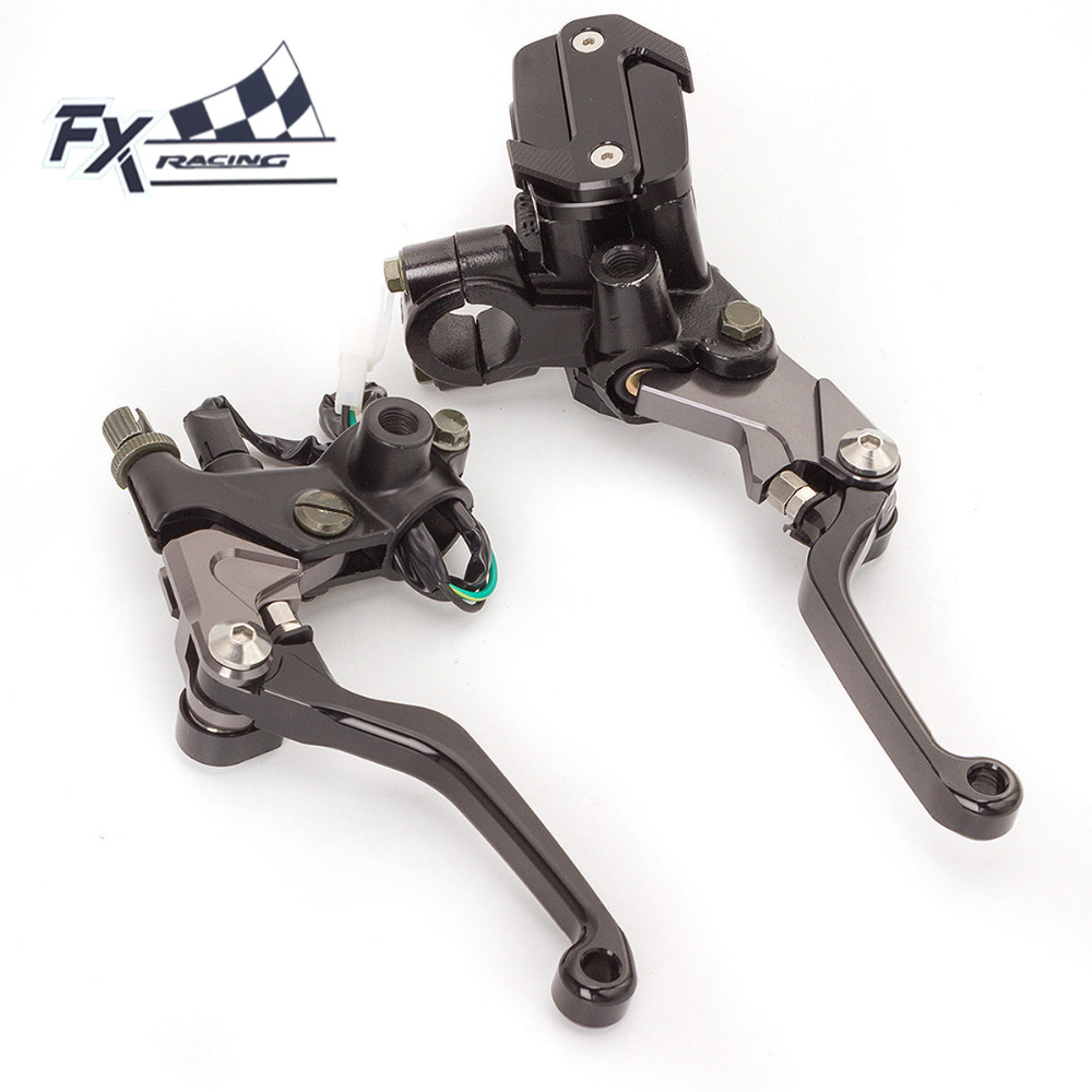 Fx Cnc 7/8 Dirt Pit Bike Motocross Brake Clutch Lever Master Cylinder Reservoir For 50-550CC Yamaha YZ 85 80 WR250F WR450 YFZ universal for kawasaki ninja 250r 1988 2012 cnc motocross off road clutch brake master cylinder reservoir levers dirt pit bike