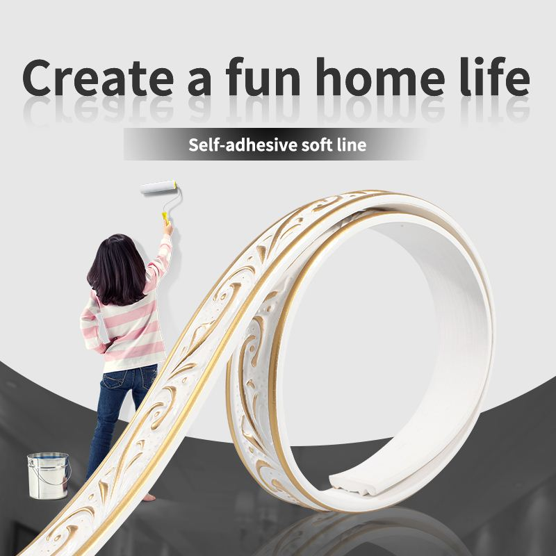 European PU Plaster Soft Line TV Background Wall Border PVC Line Mirror Porch Frame Line Bending DIY