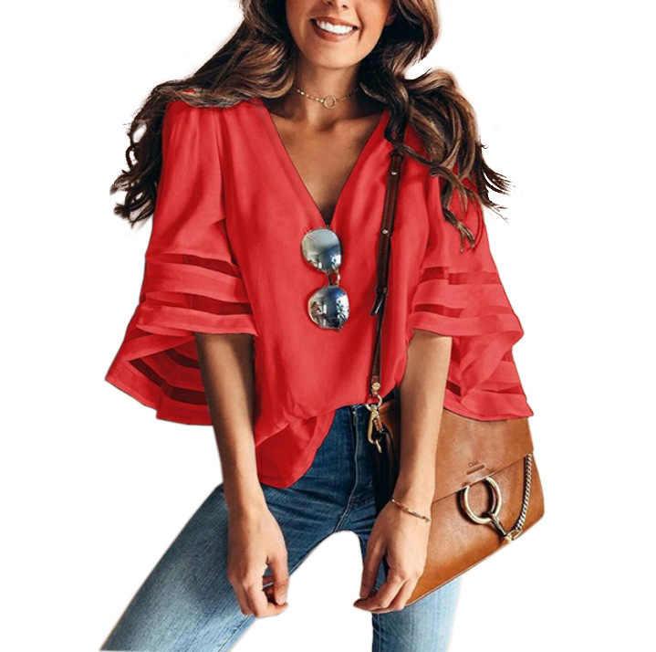 5XL زائد حجم بلوزة المرأة مضيئة كم شبكة خليط البلوزات قمم مثير V الرقبة الشيفون البلوزات قمصان أنيقة مكتب السيدات