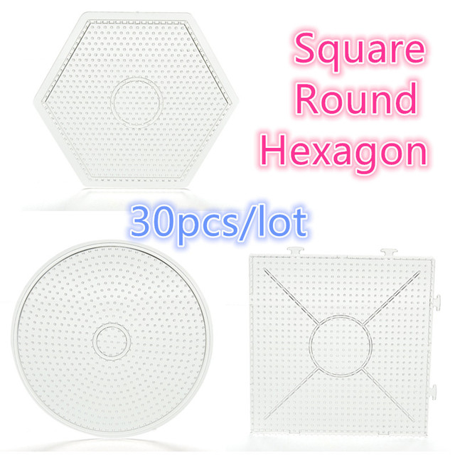 Whole Perler Beads Round Square Hexagon Shape Template Pegboards Puzzle For Hama Diy Kids Craft Fuse Toy