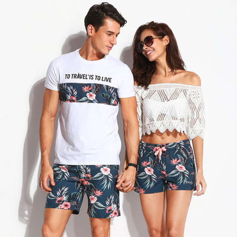Quick Dry Beach Shorts Men Women Printed Couple Swimwear Elastic Swim Trunks Sport Swimming Surfing Lovers Short De Bain Homme