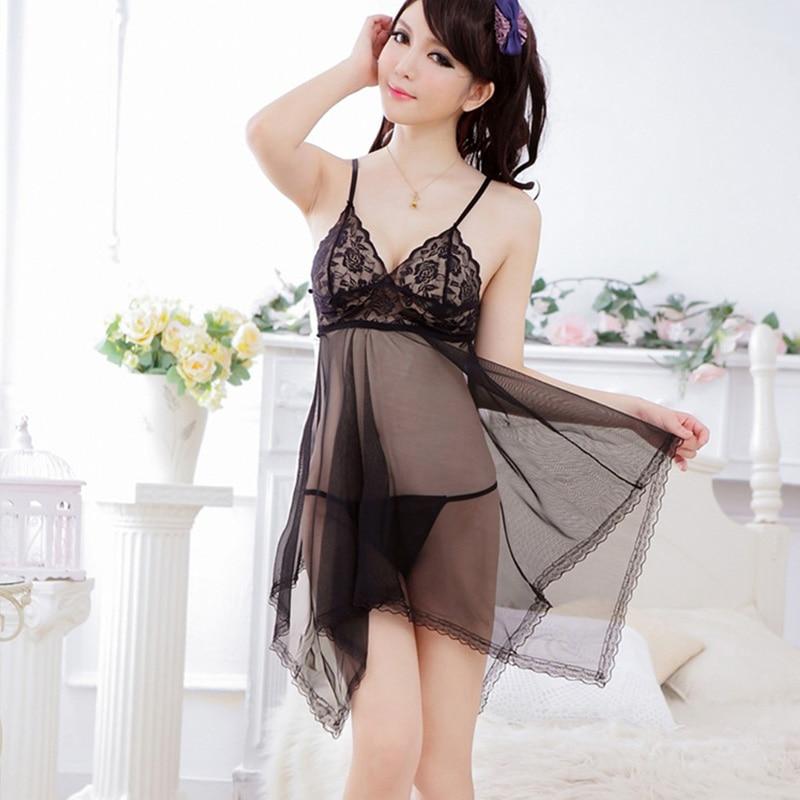 New Fashion Sexy   Nightgowns   Women's Pure Temptation Ms Lace   Sleepshirts   Summer Night Dress Mesh Sleepwear Free Shipping Sale