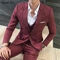UPS Stripe Blazer Vermelho dos homens Livres do Transporte Se Adapte Um Botão Ternos de Casamento Dos Homens Feitos Sob Encomenda Sob Medida Blazer Para Os Homens (blazer + calça + colete)