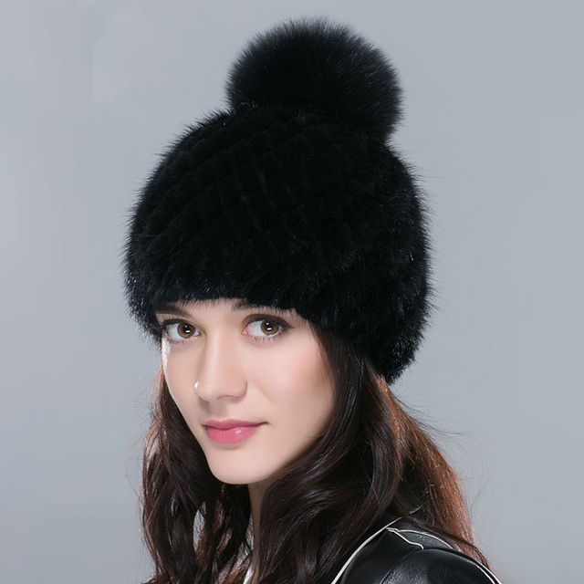 Hot Sale Real Mink Fur Hats for Women Winter Knitted Mink Fur Beanies Cap with Fox Fur Pom Poms 2016 brand New Thick Female Cap