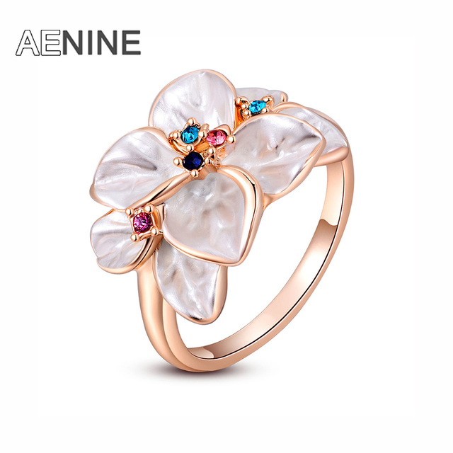 AENINE Exquisite Trendy Colorful Flower Ring with AAA Rhinestone Fashion Jewelry
