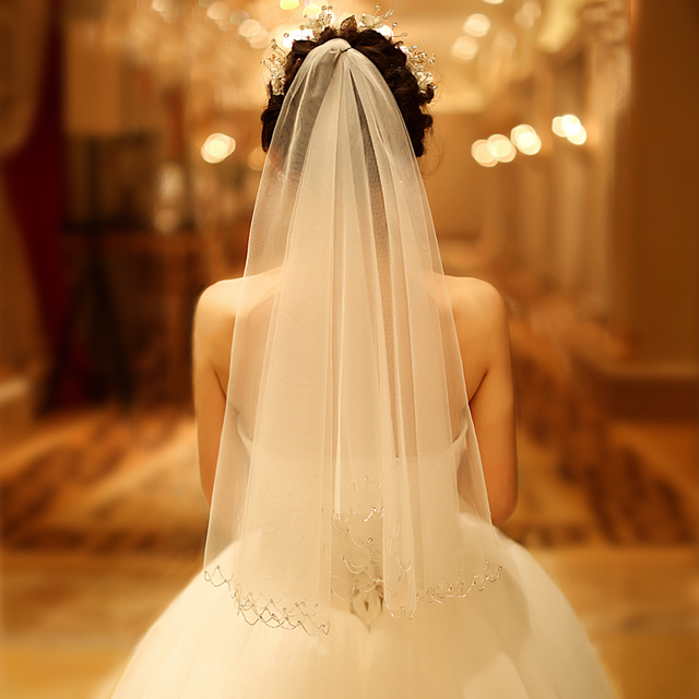 Velos De Novia Wedding Veils With Crystal Two Layer Short Veil Comb Bride