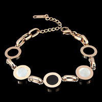 2018 New High Quality 316L Titanium Steel 5 Round Black And White Shell Bracelets For Women