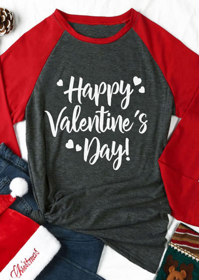 604a34b96f5 Happy Valentines Tops Heart Printed T-Shirt Women Long Sleeve Casual Spring  Gray Girls Basic Tops Free Shipping Drop Shipping
