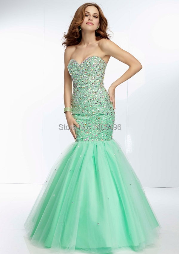 Exquisite Trumpet/Mermaid Prom Dresses 2014 Crystal Tulle Sweetheart ...