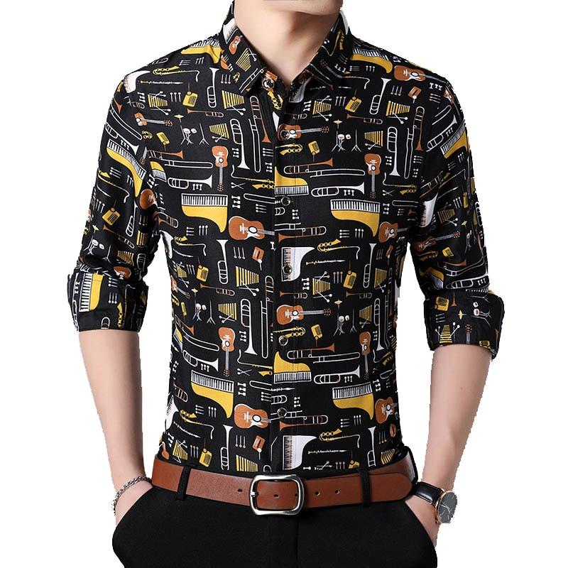 New Fashion Musical Instruments Printing Casual Fit Long Sleeve Shirts 5XL 6XL 7XL