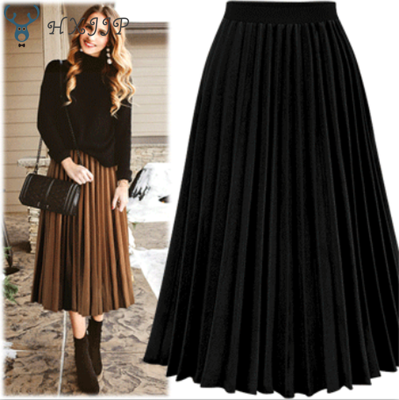 HXJJP Fashion Women's High Waist Pleated Solid Color Length Elastic Skirt Promotions Lady Black Creamy White Party Casual Skirts