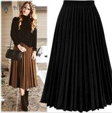 HXJJP moda damska wysokiej talii plisowane jednolity kolor długość elastyczna spódnica promocje pani czarny kremowy biały Party spódnice na co dzień