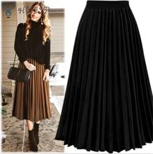 HXJJP אופנה נשים גבוהה מותן קפלים מוצק צבע אורך אלסטי חצאית מבצעים ליידי שחור שמנת לבן המפלגה מקרית חצאיות