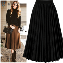 Hxjjp moda feminina cintura alta plissado cor sólida comprimento saia elástica promoções senhora preto branco cremoso festa saias casuais