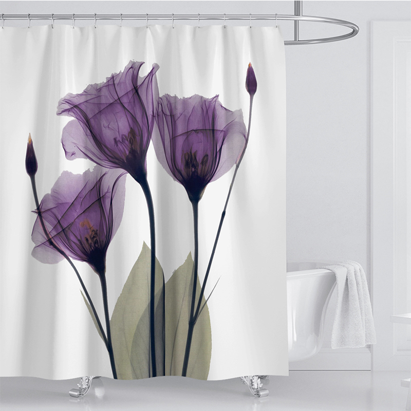 LANGRIA 4pcs Flower Print Bathroom Shower Curtain Set With Flannel Fabric For Bathroom And Toilet Windows 1