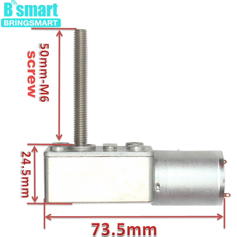 Bringsmart JGY 370 Worm Gear Motor M6 Screw Shaft Length 50MM 24V 12V DC Worm Geared Motors Reversed Reduction Motor Self-lock