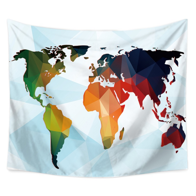Colorful World Map Tapestries Polyester Fabric Hippie Bohemian Print Home Decor Wall Hanging Tapestry Beach Throw Blanket