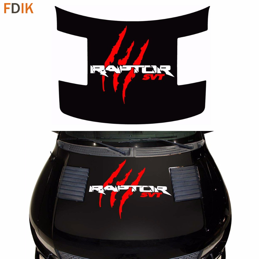 Large Front Head Hood Monster Skull Ghost Claw SVT Graphics Sticker Vinyl Decals For Ford F150 F 150 Raptor 2009 2014