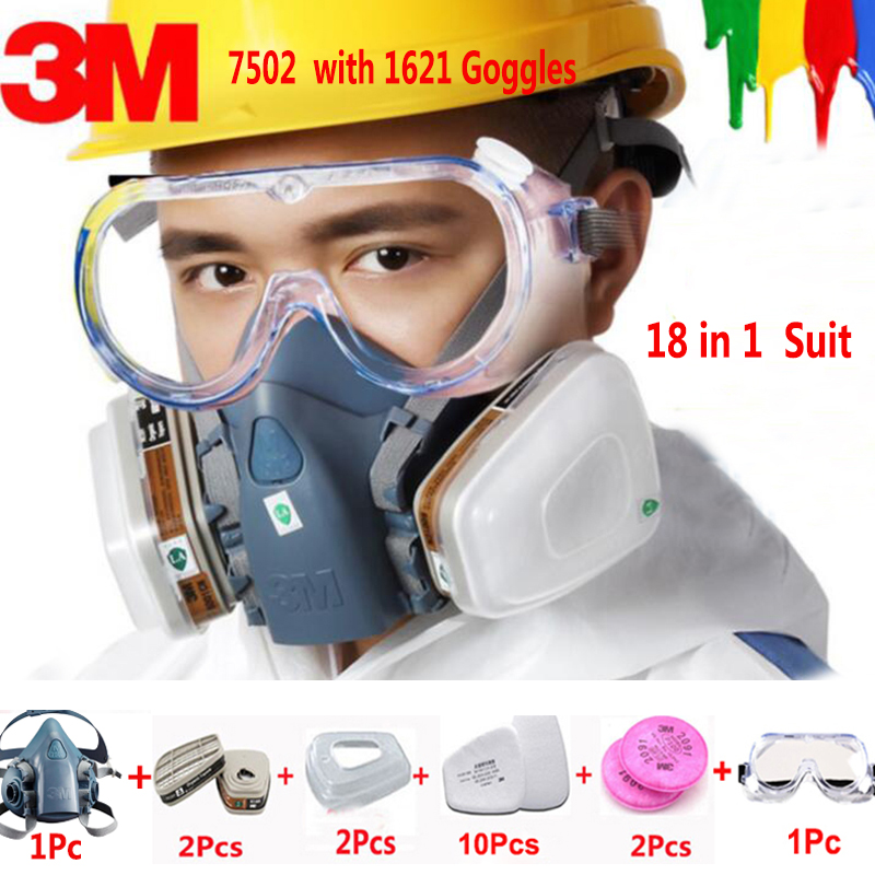 18 in 1 3M 7502 Half Face Safety Respirator Gas Mask With 3M 1621 Goggles Painting Spraying Industry Anti Dust Mask 7 in 1 7502 half face mask dust gas chemical respirator dual filter for spraying painting organic vapor chemical gas safety