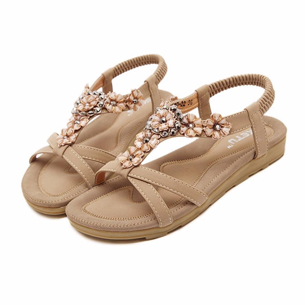 Sandals and shoes wholesale - 2017 Women Sandals Bohemia Flower Summer Women Shoes Slip On Flats Sandals Casual Ladies Shoes