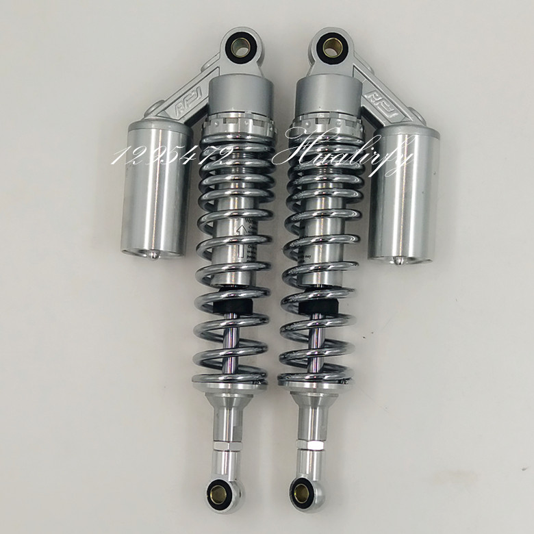 Chrom 340mm 7mm spring rear air shock absorbers FOR cb400 99-11 vtec 92-98 sf xjr400 Dirt Bike Gokart Quad MOTORCYCLE silver spring 400