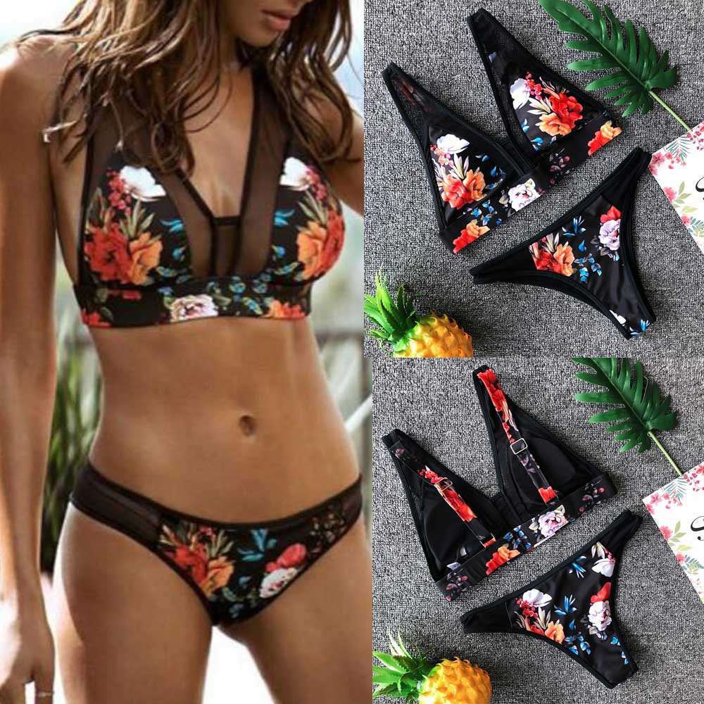 2019 Women Print Fashion Push-up Padded Bra Beach Two Set Swimsuit Swimwear Sexy Beachwear S-l#20z Promoting Health And Curing Diseases
