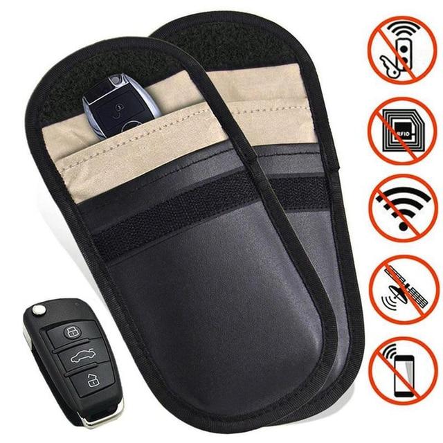 Yi Ka 1pcs Car Key Bag Fob Signal Blocker Faraday Blocking Shielding Pouch Wallet Case For Privacy Protection In