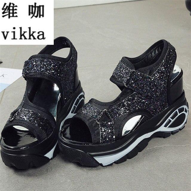 4bfd7e7a7 Модные Летние женские сандалии повседневная спортивная обувь из сетчатого  материала 2017 женщин женские босоножки на танкетке