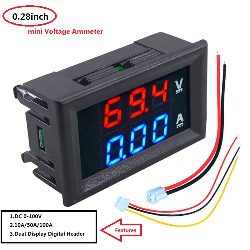 0.28 inch <font><b>Digital</b></font> Voltmeter Ammeter <font><b>DC</b></font> <font><b>100V</b></font> 10A <font><b>50A</b></font> 100A Voltmeter Current Meter Tester Blue+Red <font><b>LED</b></font> Amp <font><b>Dual</b></font> <font><b>LED</b></font> Display meter image