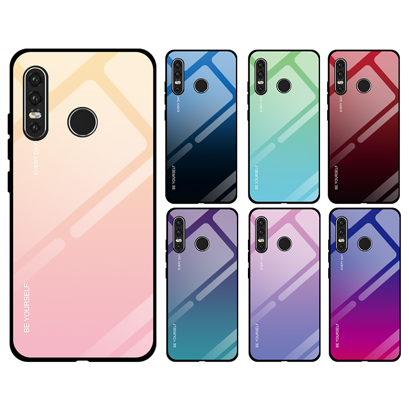 Tempered Glass phone Case For Huawei p20 p30 lite mate 10 20 Lite pro Gradient Blue Ray Cover For honor 8X 10 Lite Coque