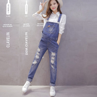 Maternity Overalls Fashion Hole Jeans Pants Clothes For Pregnant Women Pregnancy Clothing Blue Pockets Loose