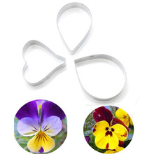 TTLIFE 3PCS Pansy Flower Petals Cookie Cutter Stainless Steel Biscuit Mold Fondant Cakes Decorating Tool Baking Moulds