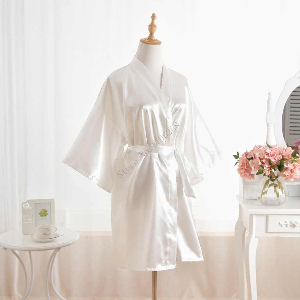 adeddabd38 ... Woman Bathrobe Pajamas Silk Bridesmaid Bride Robe Sexy Women Short  Satin Wedding Kimono Robes Sleepwear Nightgown ...